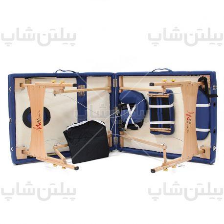 portable-massage-bed-wooden-blueتخت ماساژ