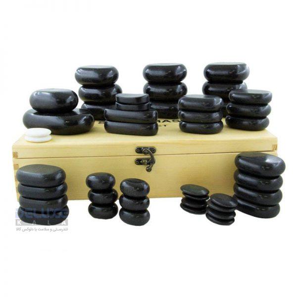 ست سنگ ماساژ 45 عددی بازالت Hotstone (2)